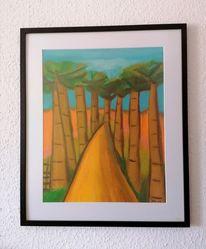Baum, Weg, Zeit, Malerei