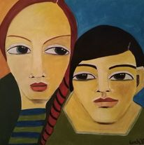 Schwestern, Bruder, Grün, Malerei