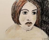 Kohlezeichnung, Orange, Frau, Zeichnungen