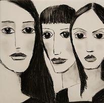 Freundin, Kohlezeichnung, Zeichnungen
