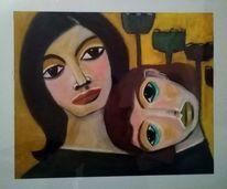 Frau, Nähe, Malerei