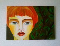 Mädchen, Zauberwald, Rote haare, Malerei