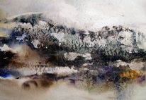 Aquarellmalerei, Spachtel, Landschaft, Abstrakt