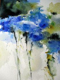 Abstrakt, Nass, Aquarellmalerei, Blumen