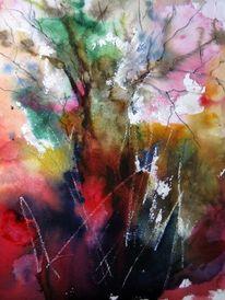 Landschaft, Baum, Nass, Aquarell