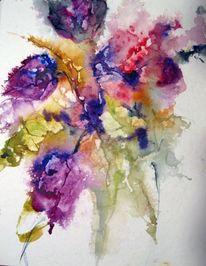 Blumen, Aquarellmalerei, Spachtel, Schicht