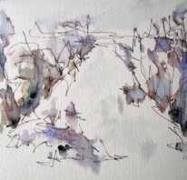 Landschaft, Nass, Skizze, Aquarellmalerei