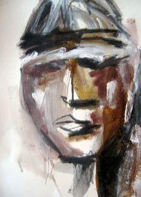 Menschen, Gesicht, Mischtechnik, Malerei