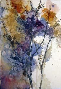 Nass, Schicht, Pflanzen, Aquarellmalerei