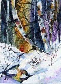 Aquarellmalerei, Landschaft, Nass, Baum