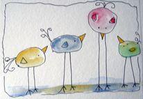 Aquarellmalerei, Skizze, Tiere, Aquarell