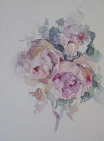 Blumen, Nass, Pflanzen, Aquarell