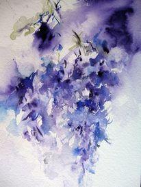 Aquarellmalerei, Blumen, Schicht, Nass
