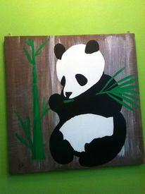 Bambus, Panda, Tiere, Acrylmalerei
