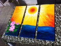 Lotosblume, Mandala, Wasser, Feuer