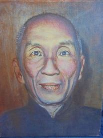 Lasurtechnik, Alter mann, Portrait, Acrylmalerei