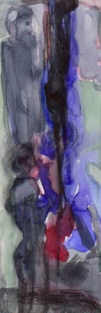 Malerei, Rot, Nacht, Aquarell