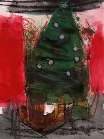 Surreal, Weihnachten, Abstrakt, Malerei