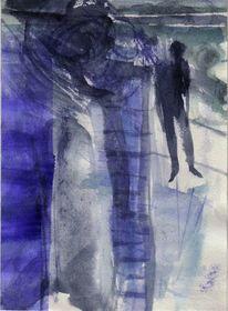 Nacht, Blau, Kalt, Malerei