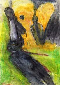 Surreal, Menschen, Gelb, Malerei