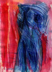 Surreal, Abstrakt, Blau, Rot