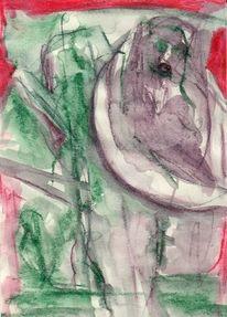Rot, Surreal, Figural, Grün