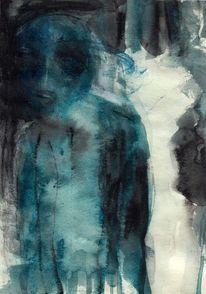 Surreal, Abstrakt, Figural, Blau