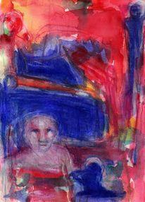 Rot, Surreal, Abstrakt, Blau