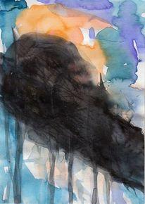 Nacht, Kalt, Surreal, Malerei