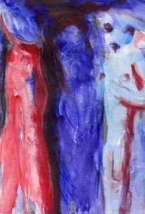 Blau, Menschen, Rot, Malerei