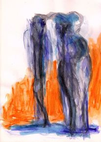 Surreal, Abstrakt, Figural, Aquarell