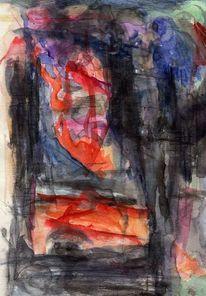 Abstrakt, Blau, Rot, Figural