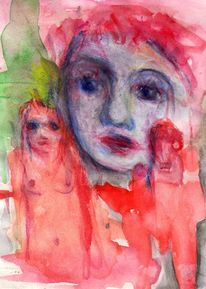 Rot, Surreal, Figural, Malerei