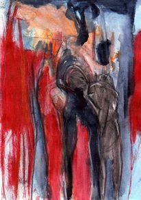 Abstrakt, Figural, Rot, Surreal