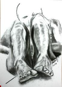 Bauchkrämpfe, Viktringer kreis, Grafit, Bein