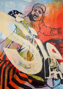 Acrylmalerei, Digital nachbearbeitet, Fröhlichkeit, Kind