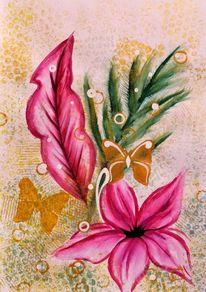 Blüte, Malerei, Blumen, Schmetterling
