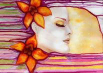 Schön, Schlaf, Traum, Aquarellmalerei