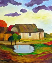 Gelb, Wasser, Dorf, Wolken