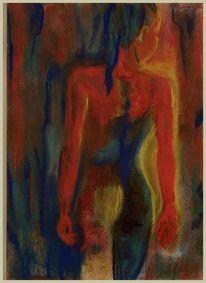 Zeichnung, Akt, Pastellmalerei, Abstrakt