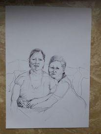 Trauer, Familie, Zusammenhalt, Zeichnungen