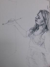 Malen, Frau, Zeichnungen, Atelier