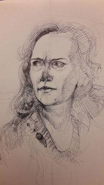 Frau, Ausdruck, Blick, Zeichnungen
