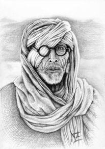 Flüchtling, Schal, Portrait, Grafit
