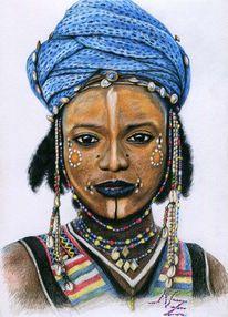 Afrika, Buntstiftzeichnung, Perlen, Gesicht