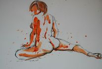 Orange, Aquarellmalerei, Rücken, Akt
