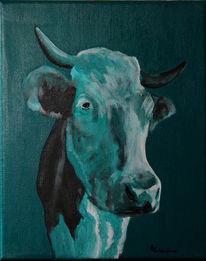 Zeitgenössische kunst, Kuh, Gegenwartskunst, Acrylmalerei