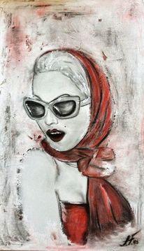 Frau, Sommer, Tuch, Sonnenbrille
