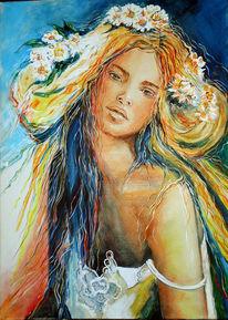 Mädchen, Blumen, Sinnlichkeit, Malerei