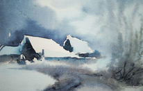 Winterlandschaft, Winter, Aquarell, Landschaften